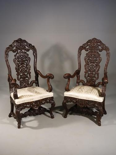 Remarkable Pair of Late 19th Century Walnut Throne Chairs (1 of 10)