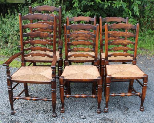 1960s Set 6 Ash Ladder Back Dining Chairs 4+2 Carvers (1 of 3)