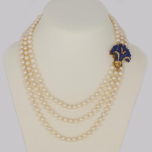"""Vintage Pearl Necklace 18ct Gold Lapis Lazuli Clasp Triple Strand 24"""" Long  Italian Necklace (1 of 7)"""