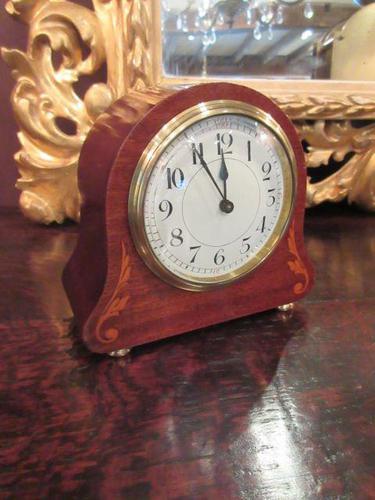 Small Edwardian Period Inlaid Mantel Clock (1 of 9)