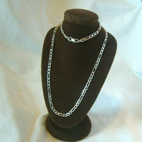 """Vintage Silver Necklace 1970s Figaro Link 925 Solid Silver 19"""" Length (1 of 11)"""