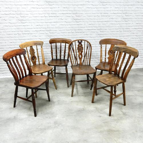 Interesting Harlequin Set of 6 Windsor Kitchen Chairs (1 of 6)