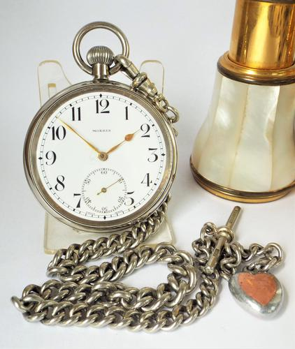 Antique 1930s Moeris Pocket Watch & Chain (1 of 6)