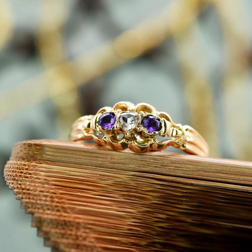 The Antique Heart Set Rose Diamond & Amethyst Ring (1 of 6)
