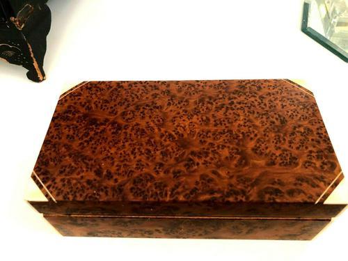 Art Deco Burr Walnut Trinket / Tobacco Box (1 of 7)