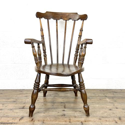 Antique Ash & Elm Armchair with Penny Seat (1 of 9)