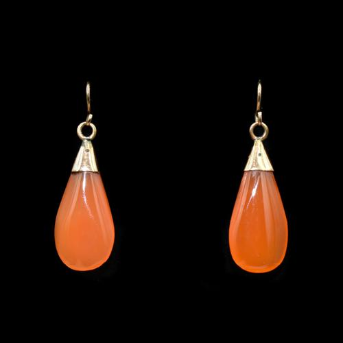 Antique Carnelian Agate 9ct Gold Drop Dangle Earrings (1 of 5)