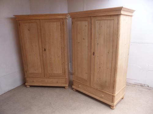 Superb Plain Large Pair of Antique Pine 2 Door Wardrobes to wax / paint (1 of 11)