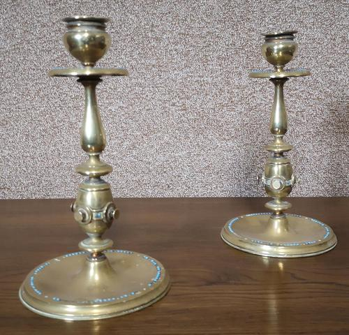 Pair of Brass Arts and Crafts Candlesticks (1 of 12)
