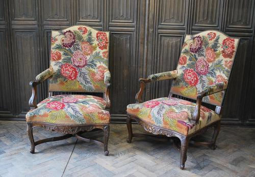 Pair of French Regence Carved Walnut Library Fauteuils (1 of 9)