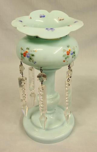 Antique Shaped Single Green Glass Lustre (1 of 4)
