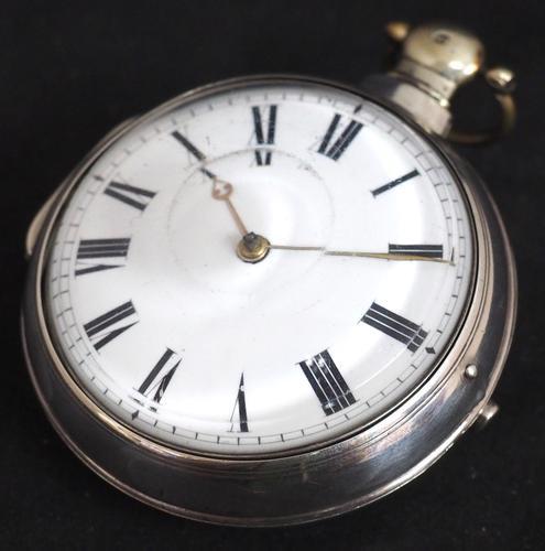 Antique Silver Pair Case Pocket Watch Fusee Verge Escapement Key Wind Enamel Dial W Hollison London (1 of 9)