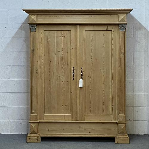Antique Continental pine double wardrobe 'dismantles' (1 of 6)