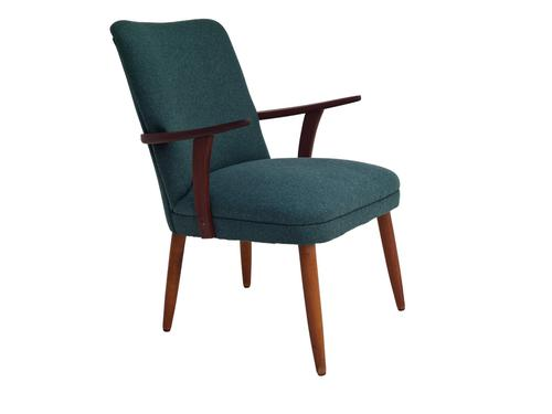 Danish Armchair, completely renovated, wool, teak, 1960s (1 of 16)
