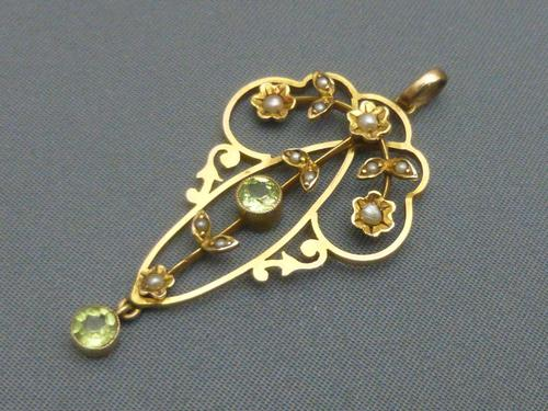 Edwardian 9ct Gold, Peridot & Pearl Pendant (1 of 5)