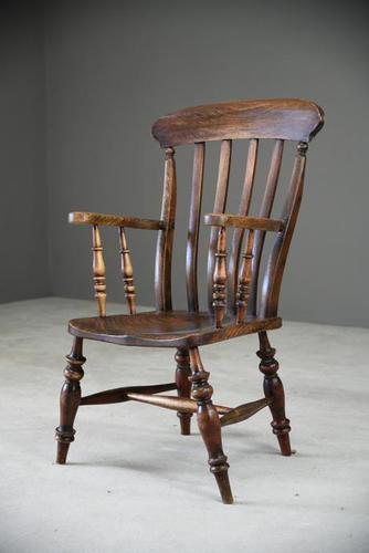 Antique Elm & Beech Lathe Back Kitchen Chair Armchair (1 of 11)
