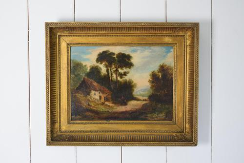 19th Century Oil on Board Thatched Cottage (1 of 10)