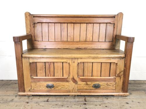 Pitch Pine and Oak Settle Bench with Drawers (M-1475) (1 of 11)