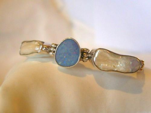 "Vintage Silver Opal & Blister Pearl Bracelet 1970s 7 3/4"" Length 15.6 Grams (1 of 12)"