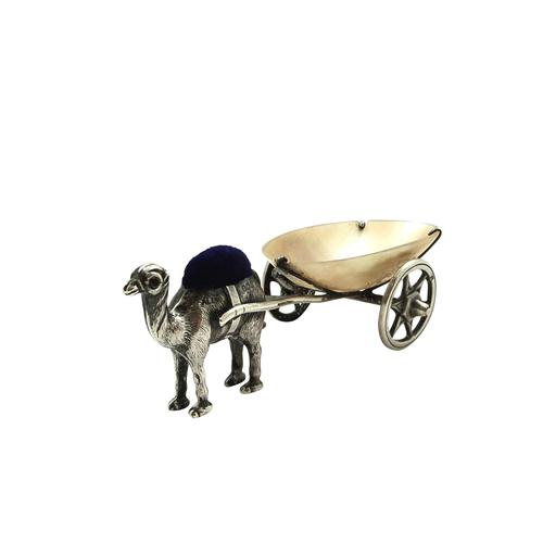 Antique Edwardian Sterling Silver Camel with Cart Pin Cushion 1909 (1 of 8)