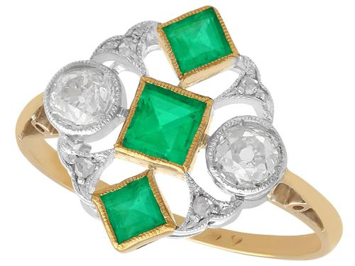 0.55 ct Emerald and 0.54 ct Diamond, 18 ct Yellow Gold Dress Ring - Art Deco - Antique Circa 1920 (1 of 9)