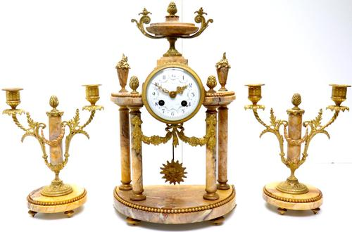 Antique 8 Day French Ormolu & Marble Mantel Clock Set with 2 Branch Candelabras (1 of 10)