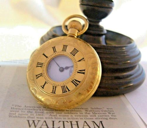 Vintage Swiss Waltham Pocket Watch 1970s 17 Jewel 12ct Gold Plated Half Hunter FWO (1 of 12)