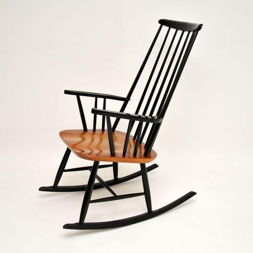 1960's Vintage Ebonised Elm Rocking Chair (1 of 11)