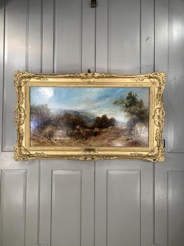 Antique Victorian landscape oil painting entitled Lunch Time by PG Hewett (1 of 11)
