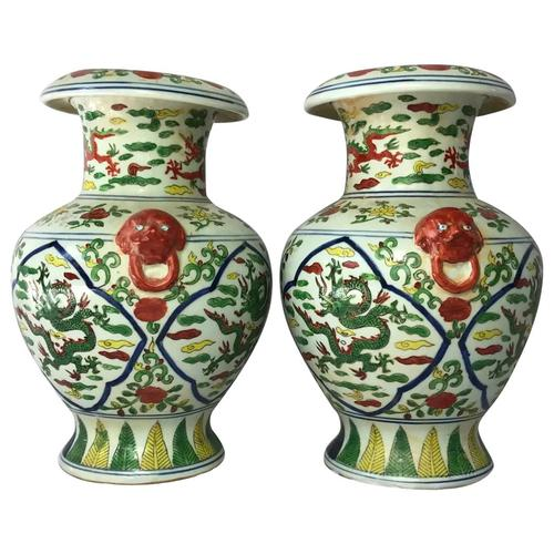 Pair Fine Chinese Kangxi Style Porcelain Green Red Dragon Flower Vases Signed (1 of 13)