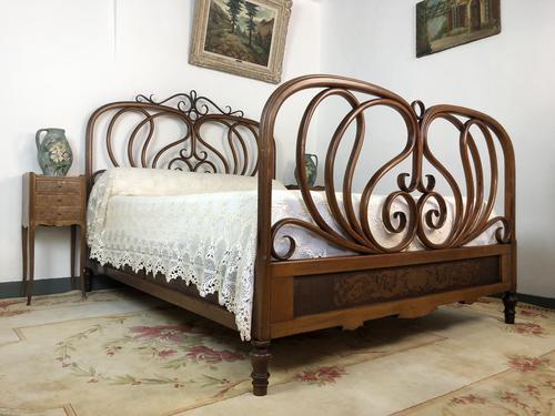 Antique Bentwood Large Double Bed By Jacob & Josef Kohn c.1900 (1 of 12)