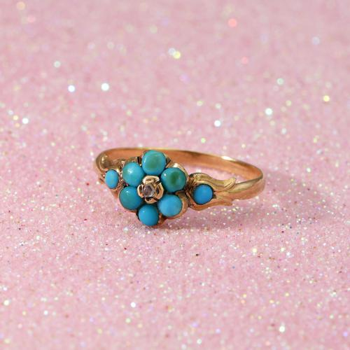 The Antique Eight Turquoise & Diamond Ring (1 of 5)