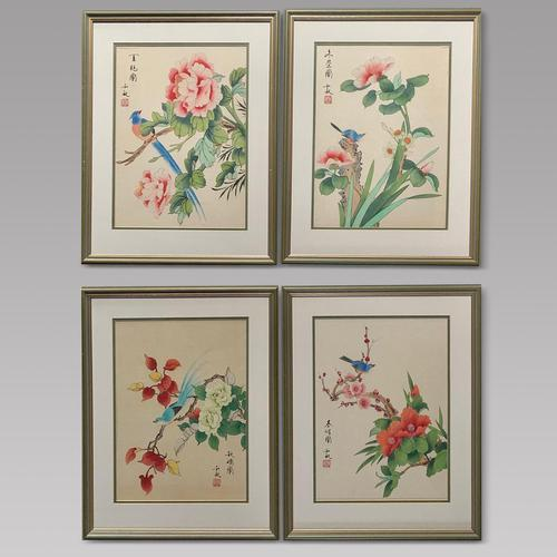 Very Attractive Set of Four Chinese Watercolours on Silk Pictures (1 of 5)