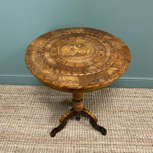 Spectacular Victorian Impressively Inlaid Antique Walnut Sorrento Table (1 of 7)
