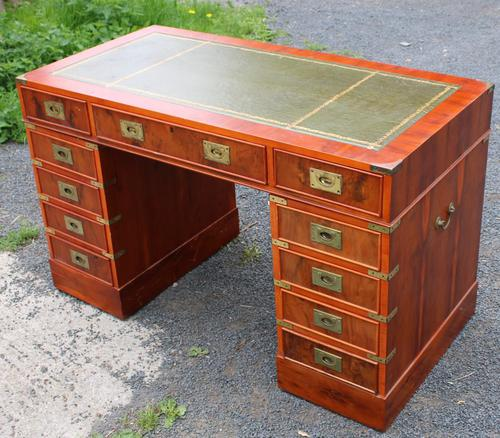 1960s Yew Wood Pedestal Desk with Green Leather Top- Military Style (1 of 5)