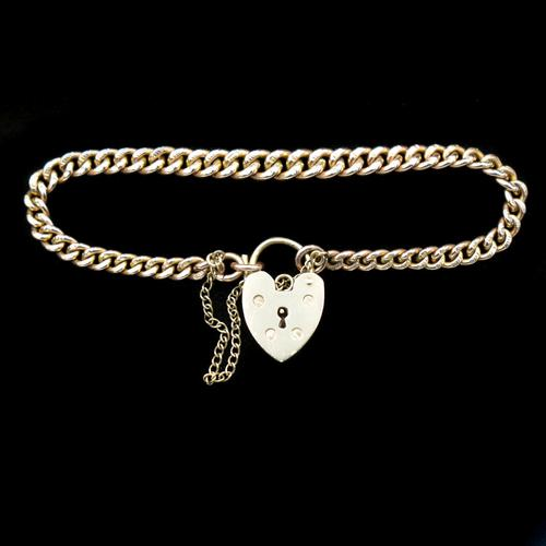 "Vintage Heart Padlock Fancy Curb 9ct 9K Gold Bracelet 6"" (1 of 11)"