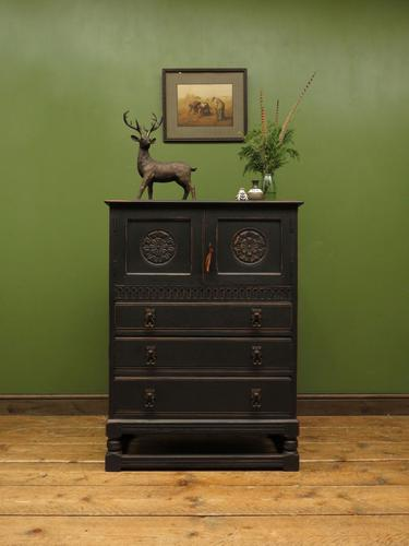 Antique Black Painted Oak Tall Boy Cabinet with Drawers, Gothic shabby chic (1 of 11)