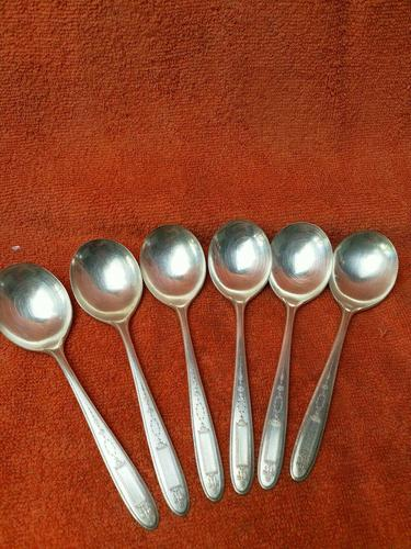 Antique Silver Plate Epns Art Deco Soup Spoons c.1920 (1 of 7)