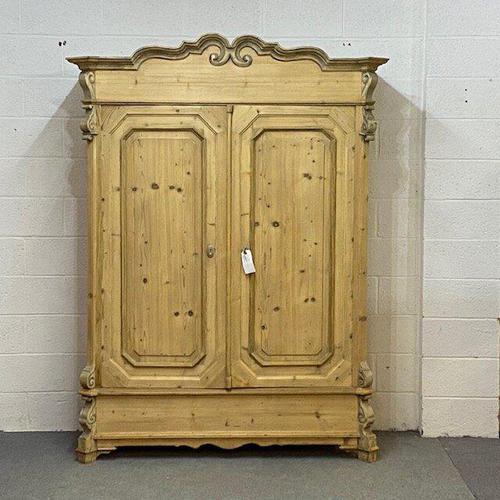Beautiful Ornate Antique Pine Wardrobe - Dismantles (1 of 5)