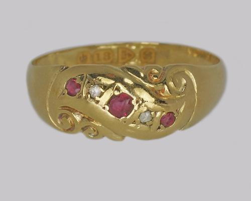 Antique Ruby & Diamond Ring 18ct Gold Edwardian Ring Hallmarked Chester 1902 (1 of 10)