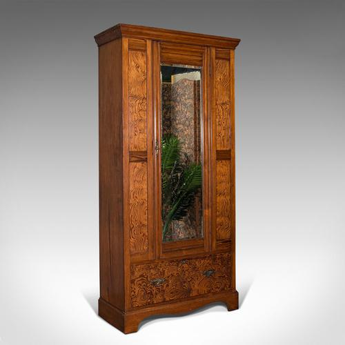 Antique Wardrobe, English, Pitch Pine, Closet, Dressing Mirror, Victorian c.1900 (1 of 12)