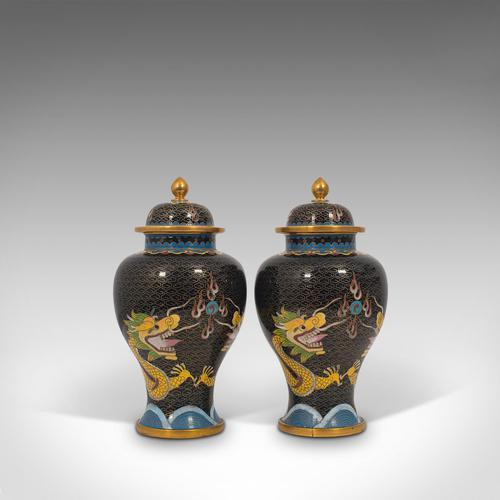 Pair of Antique Decorative Spice Jars, Chinese, Cloisonne, Baluster Urn c.1900 (1 of 12)