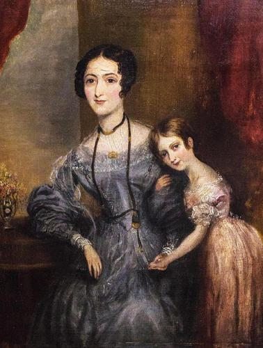 Victorian Oil on Canvas Mother & Daughter Portrait (1 of 10)