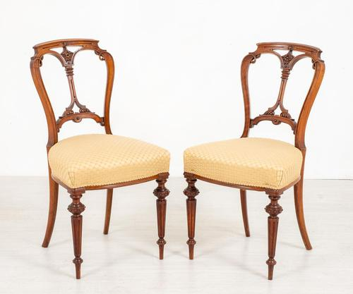 Pretty Pair of Victorian Walnut Chairs (1 of 7)