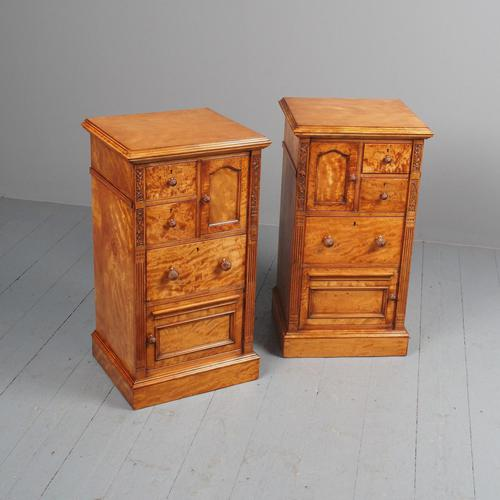 Antique Pair of Satinwood Bedside Cabinets by M. Woodburn (1 of 13)