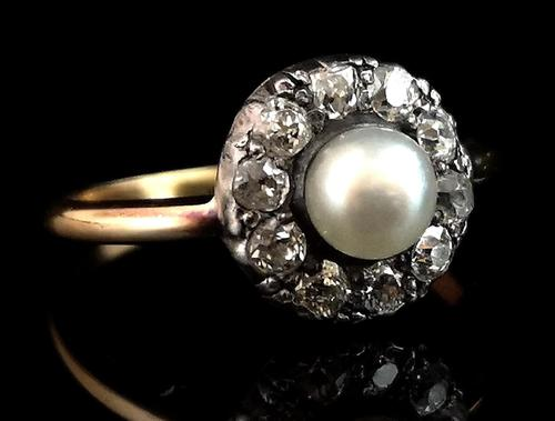 Antique pearl and diamond cluster ring, 18ct gold (1 of 9)