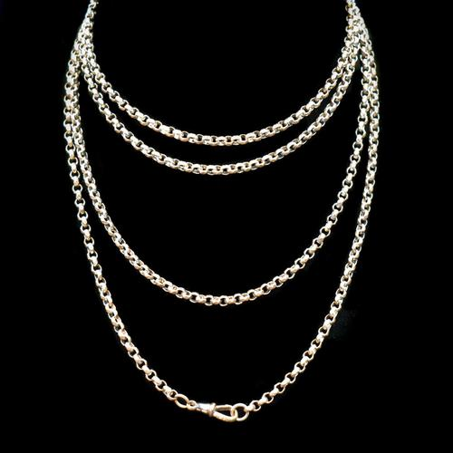 Antique Long Faceted Belcher Rolled Gold Guard Muff Chain Necklace (1 of 8)
