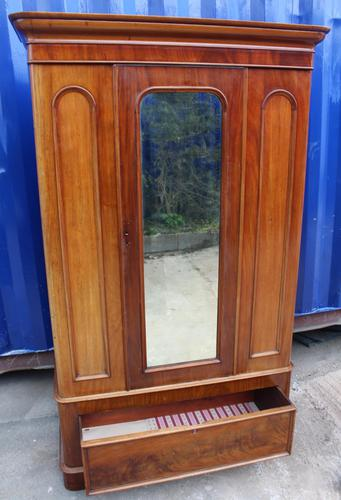 1900's Mirrored 1 Door Mahogany Wardrobe with Large Drawer (1 of 4)