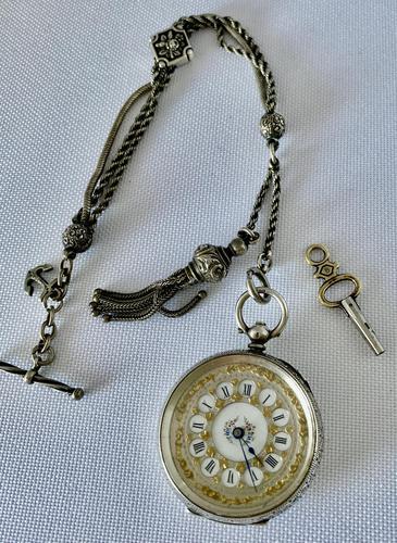 Pretty Silver Ladies Fob Watch & Fob c.1890 (1 of 9)