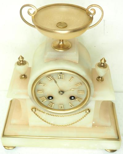 Wonderful French 8-Day Mantel Clock Alabaster Clock with Ormolu Mounts Striking A Bell (1 of 12)